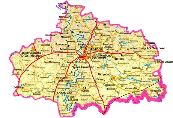 Зарайский район карта.